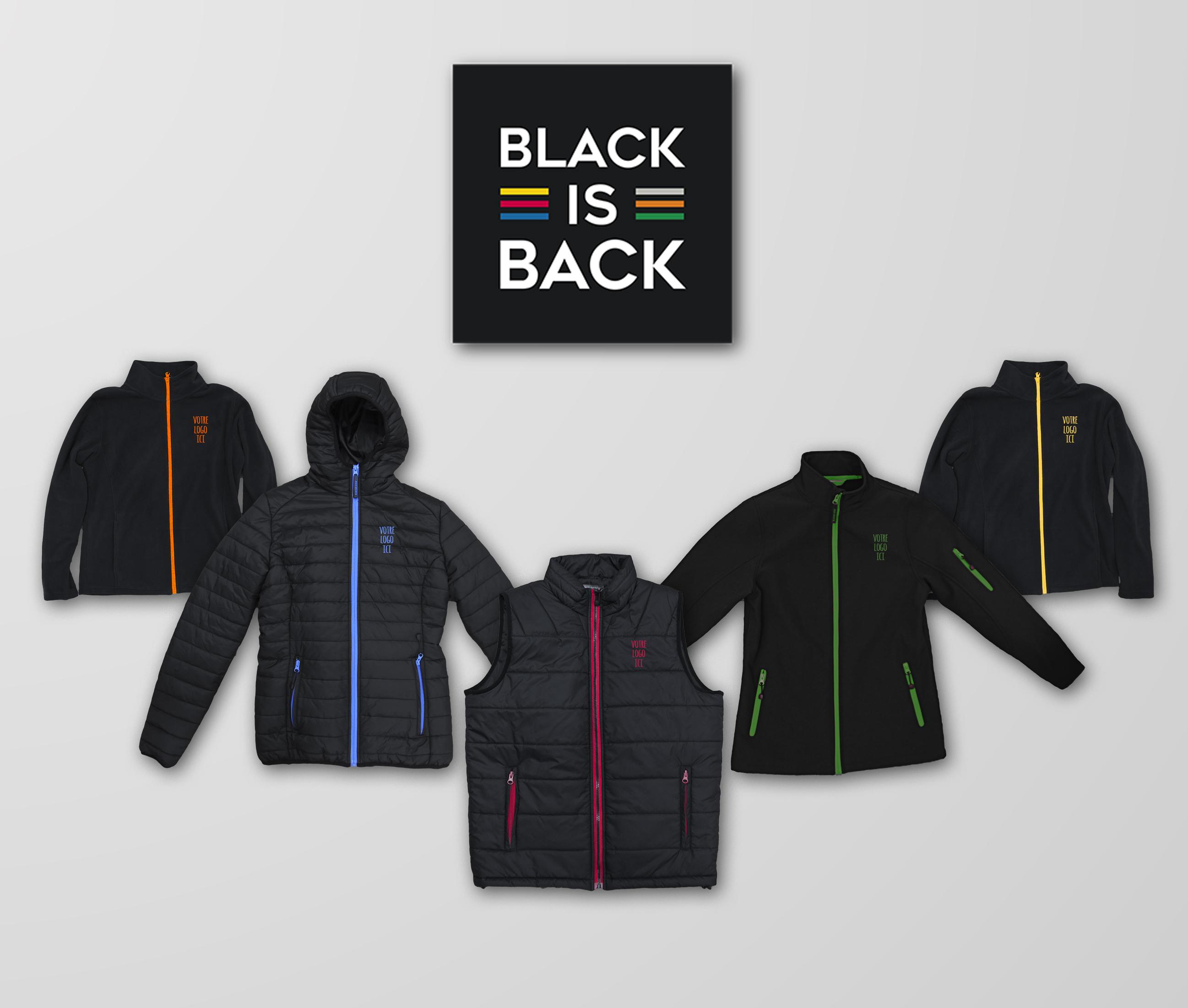 collection black is back textile publicitaire MAVIP