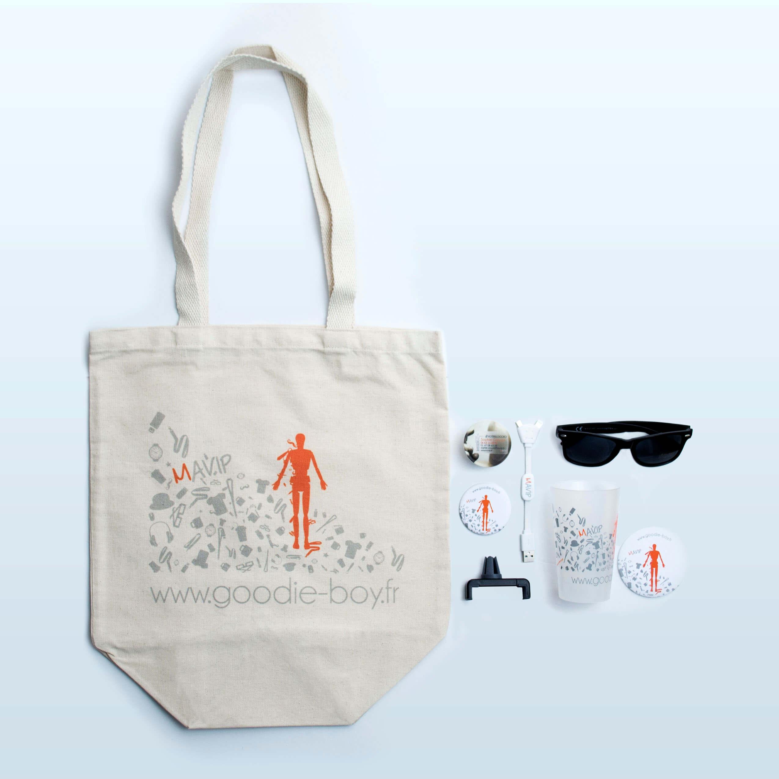 Collection de goodies personnalisables et personnalisés avec logo par Mavip