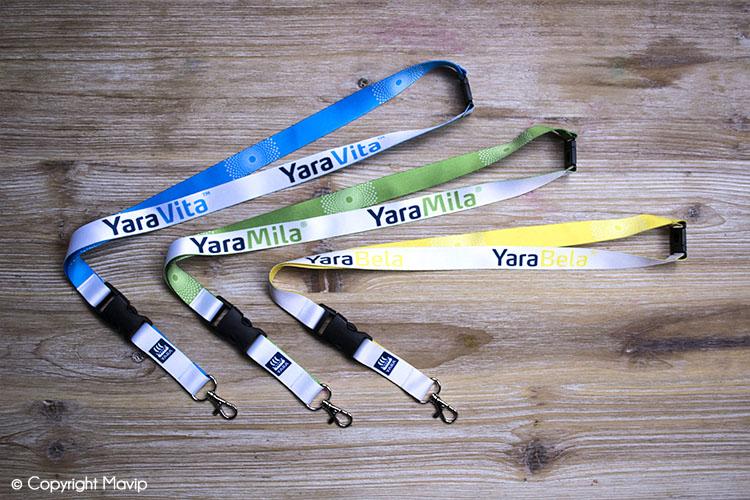 Lanyards réalisés par Mavip pour Yara