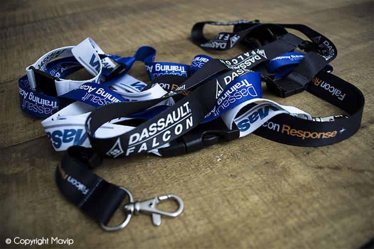 Les lanyards réalisés par Mavip pour Dassault