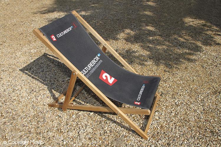 chaise pliable réalisée pour France 2 par Mavip