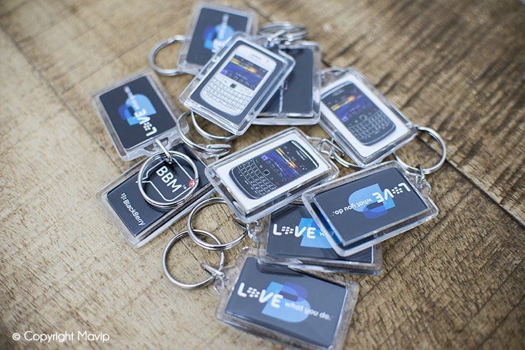 Les porte-clés publicitaires réalisés par Mavip agence de communication par l'objet pub
