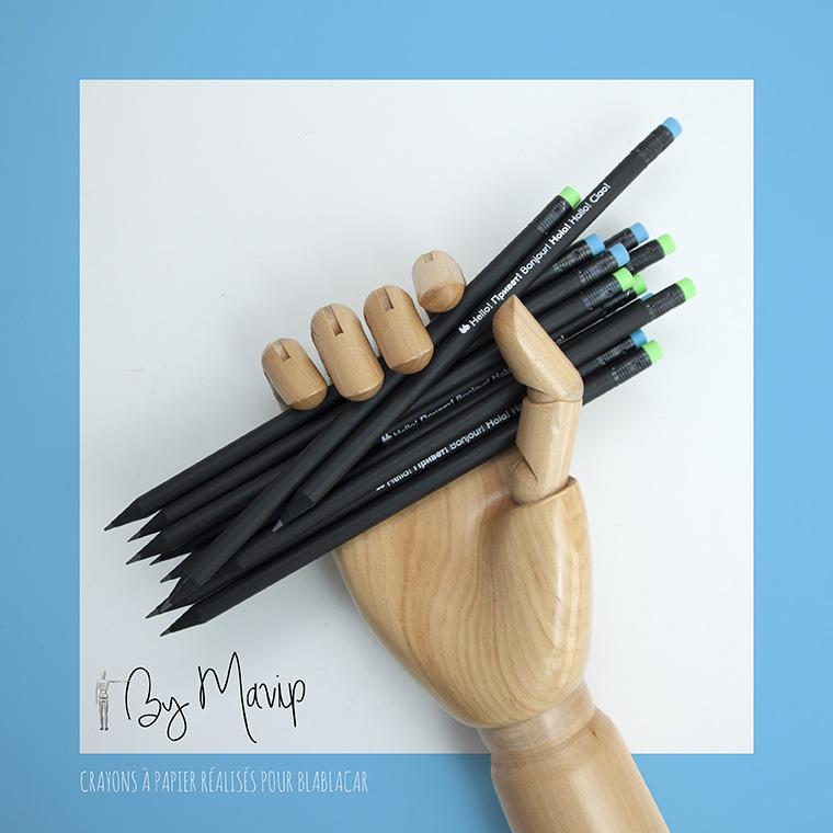 Crayons à papier personnalisés avec logo de blablacar
