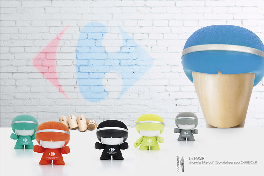 Enceintes mini Xboy bluetooth logoté réalisées pour Carrefour par Mavip