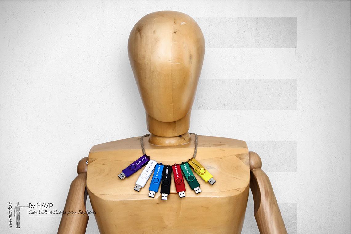 Clés usb coloré logoté réalisées pour Sephora par Mavip