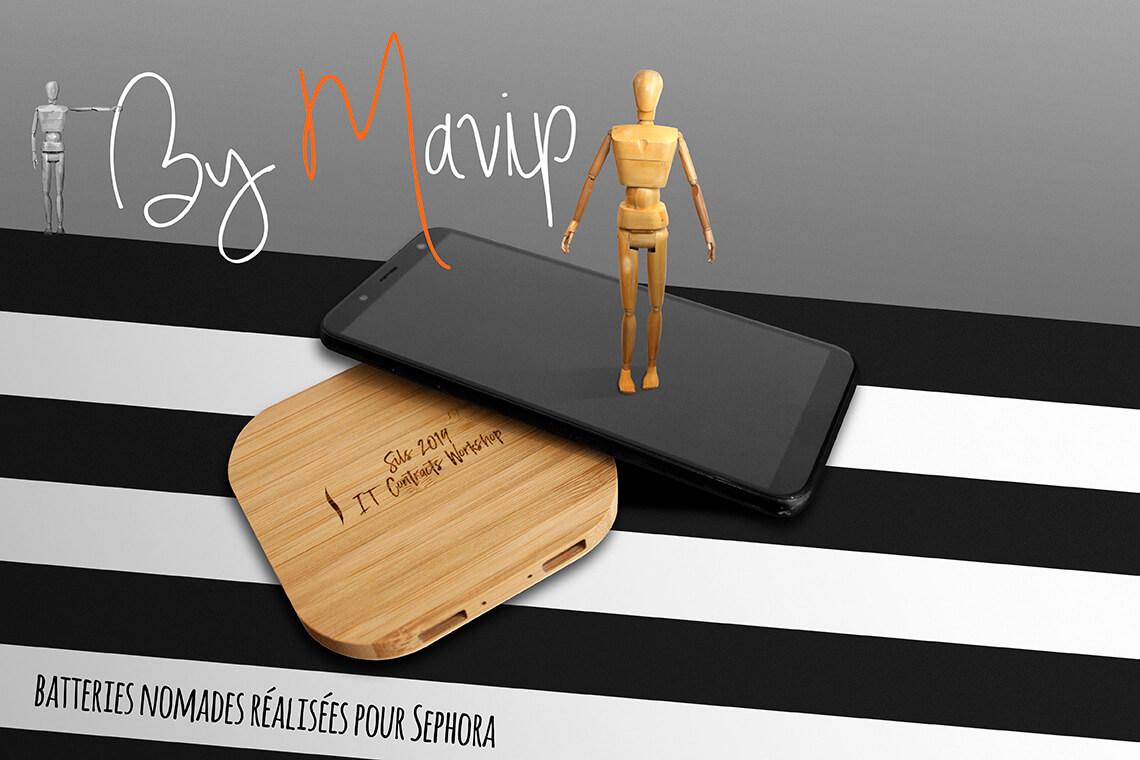 Chargeurs nomades réalisés pour Sephora par Mavip