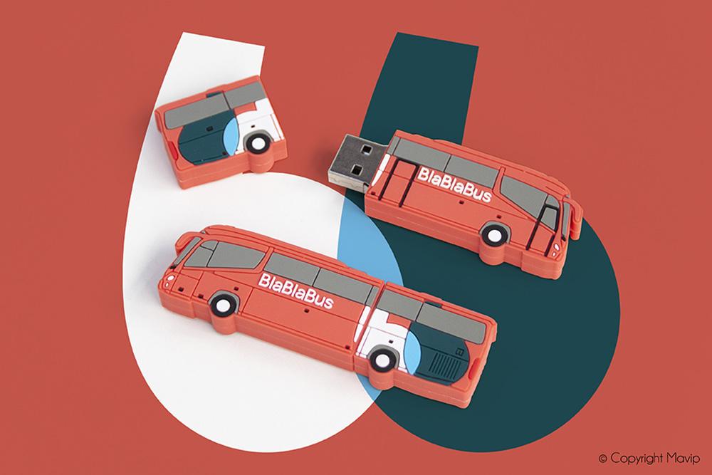 Clés USB à la forme réalisées pour Blablabus par Mavip