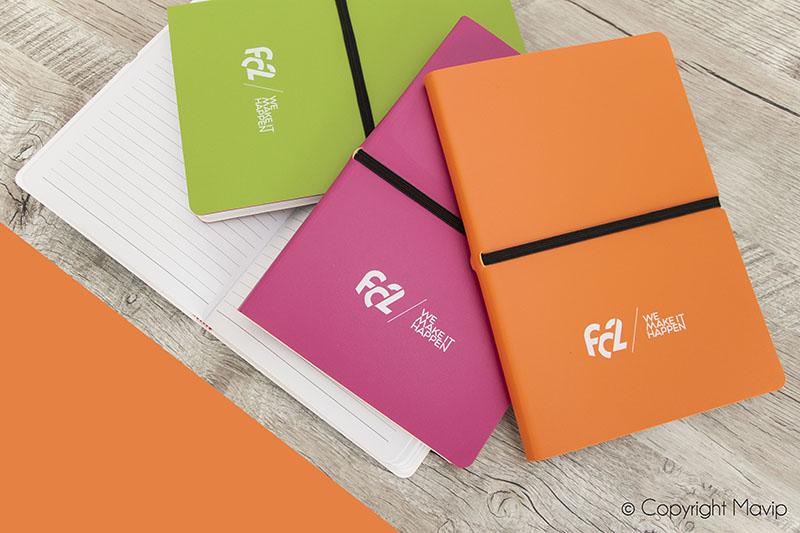 Carnets personnalisés avec logo de FC2 event par Mavip
