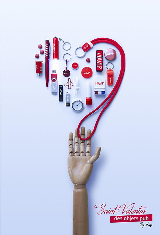 les objets publicitaires de la saint-valentin en forme de coeur
