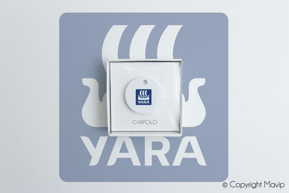 Localisateurs d'objets personnalisables avec logo réalisés pour Yara par Mavip