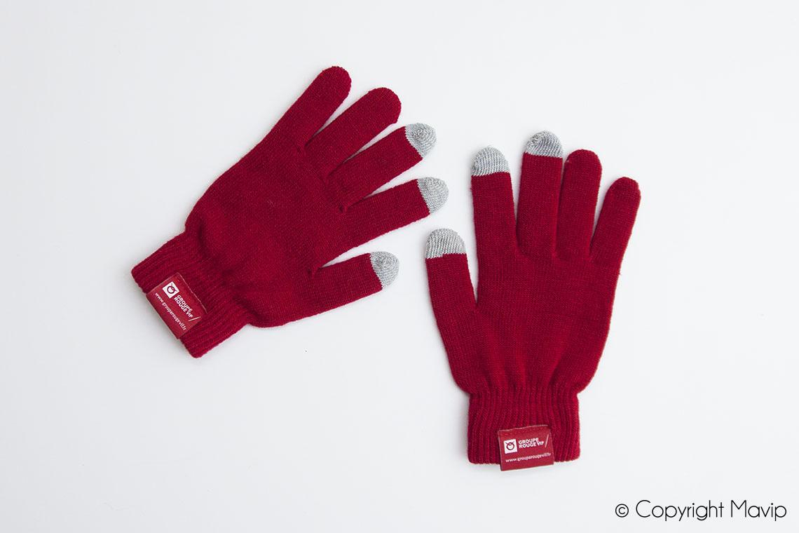 Gants tactiles personnalisables avec logo réalisés pour Rouge Vif par Mavip