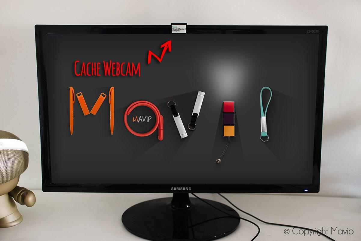 Caches Webcam personnalisables avec logo réalisés par Hewlett Packard par Mavip