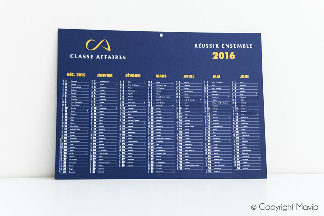 Calendriers personnalisés avec logo classe affaires par Mavip