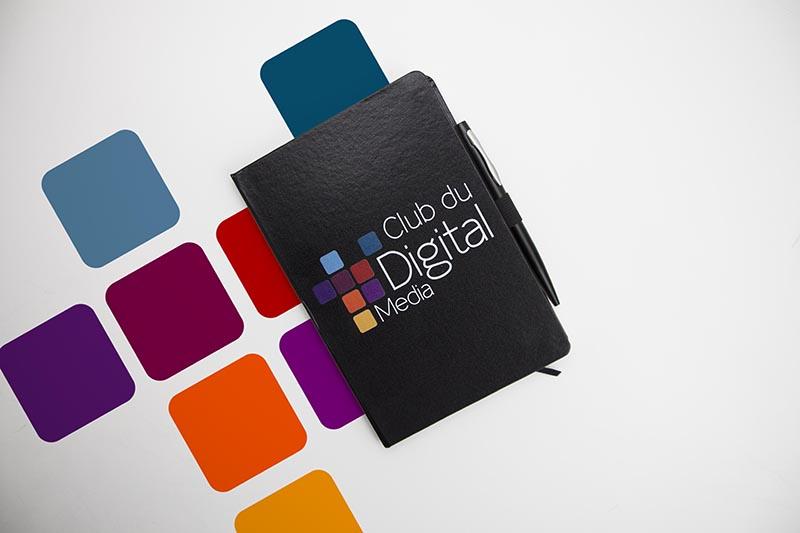 Carnets personnalisés avec logo de Club du digital par Mavip
