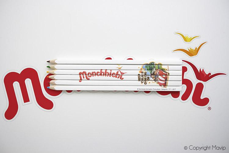 Crayons de couleurs personnalisables avec logo monchhichi réalisés pour Technicolor par Mavip