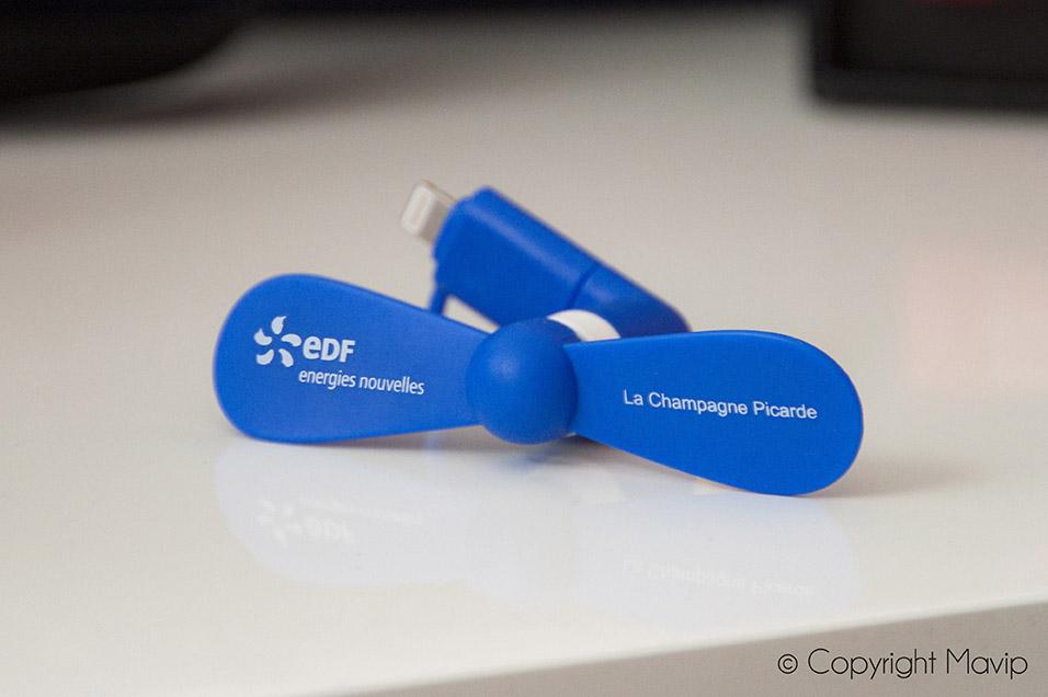 Ventilateurs pour smartphone réalisés pour EDF par Mavip