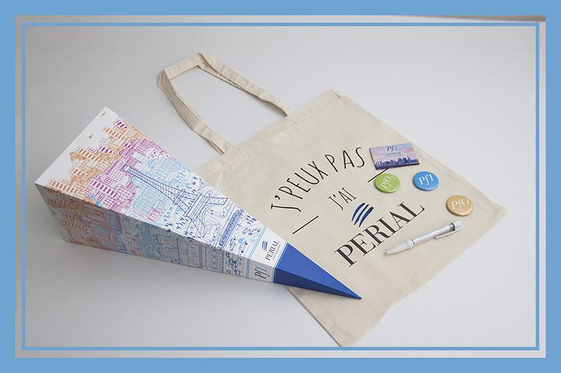 Kit d'objets publicitaires réalisé pour Perial par Mavip
