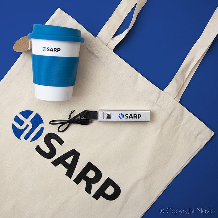 Kit d'objets média tote bag mug chargeur pour SARP