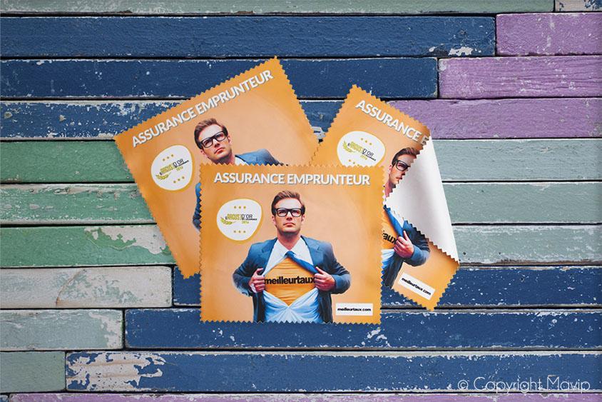 Lingettes microfibres personnalisables avec logo et photo réalisées pour Meilleurtaux.com par Mavip
