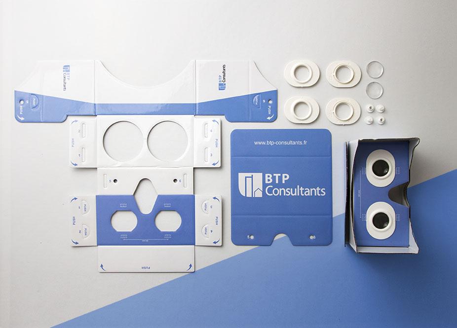 Lunettes 3D à monter personnalisables avec logo réalisées pour BTP Consultants par Mavip
