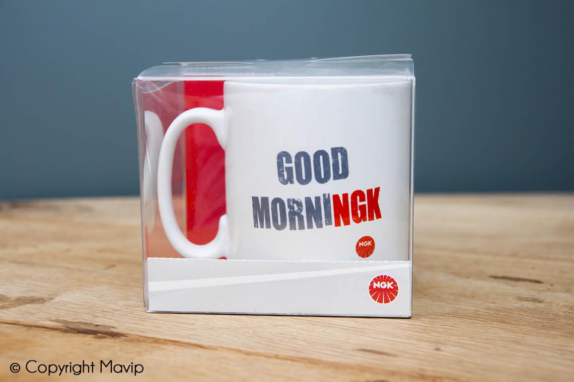 Mugs personnalisables réalisés pour NGK avec logo quadri