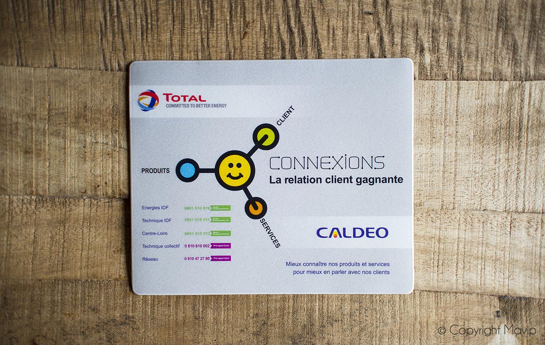Tapis à souris personnalisables avec logo réalisés pour Total par Mavip