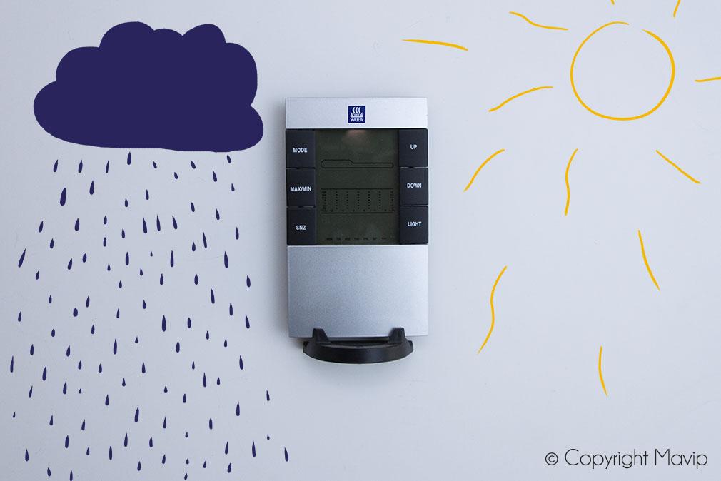 Stations météo personnalisable avec logo réalisées pour Yara par Mavip