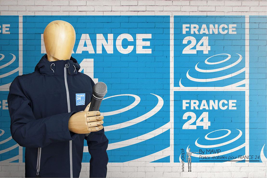 Parkas réalisées pour France 24 par Mavip