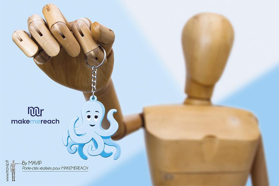 Porte-clés logo à la forme réalisés pour Make Me Reach par Mavip