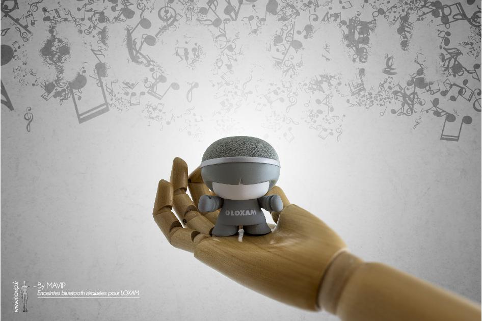 Enceintes bluetooth mini Xboy réalisées pour Loxam par Mavip