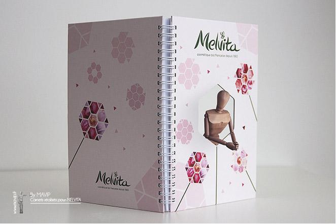 Carnets personnalisables réalisés pour Melvita par Mavip
