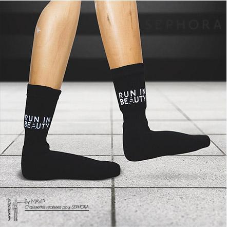 Chaussettes personnalisables réalisées par Sephora par Mavip