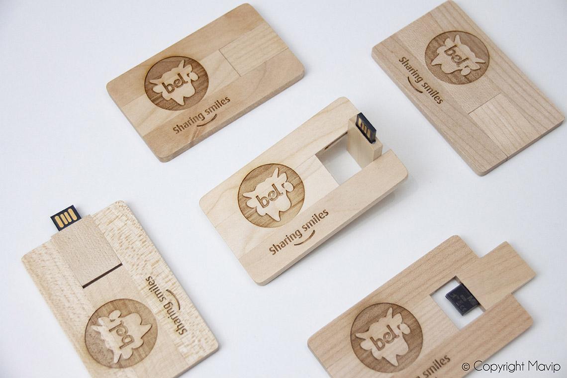 Cartes clés usb en bois personnalisables avec logo d'entreprise by Mavip