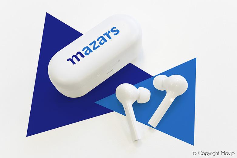Ecouteurs sans fil réalisés pour Mazars par Mavip