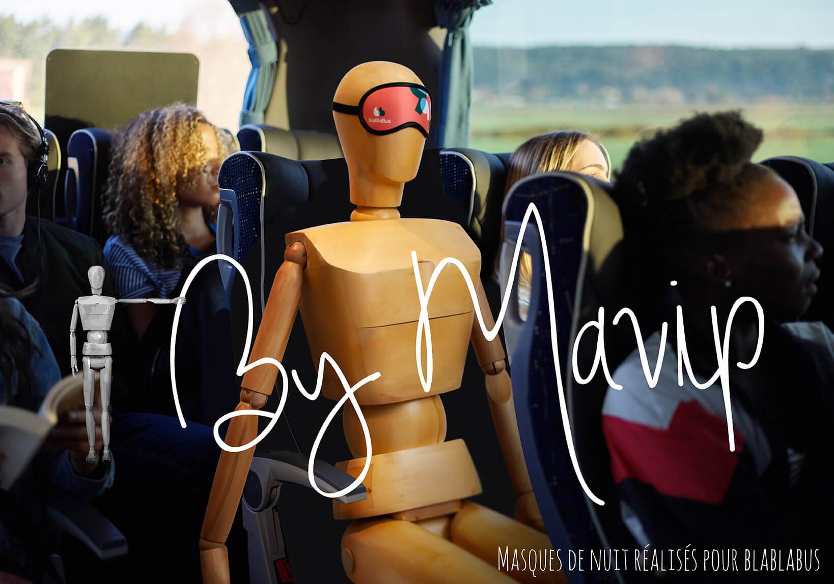 Masques denuit réalisés pour Blablabus par Mavip