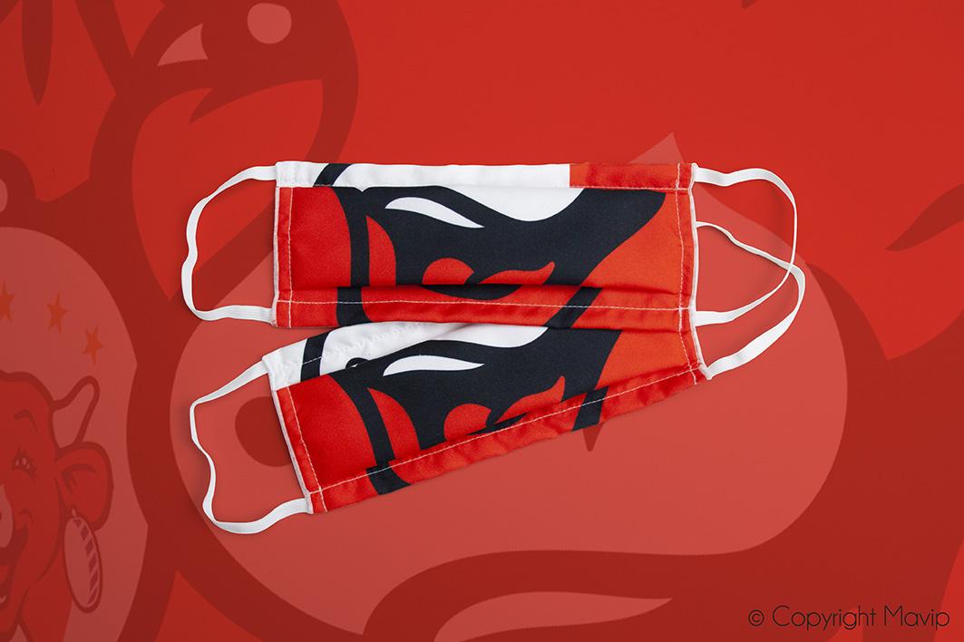 Masque en tissu personnalisable avec logo d'entreprise formagerie Bel