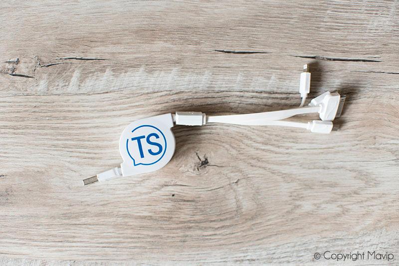 Cables pour smartphones réalisés pour Talent Soft par Mavip