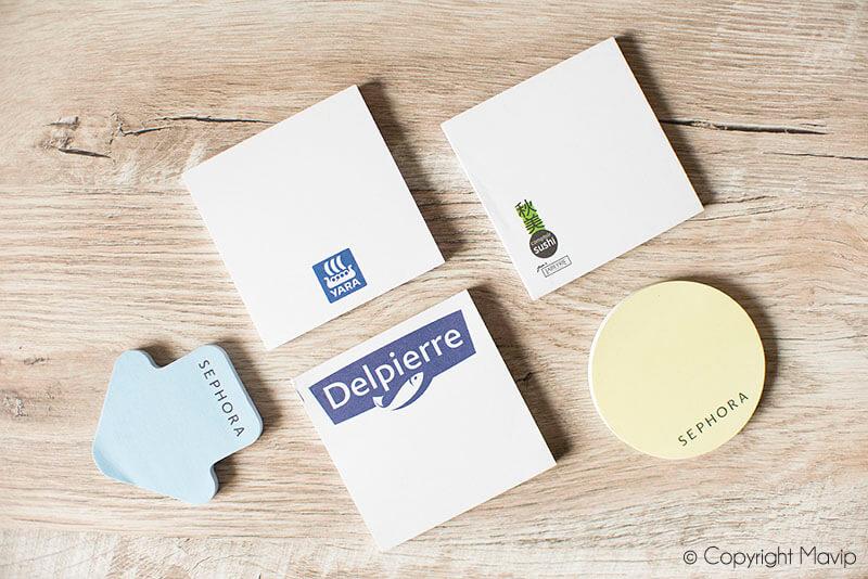 Post-it personnalisables avec logo d'entreprise réalisés par Mavip