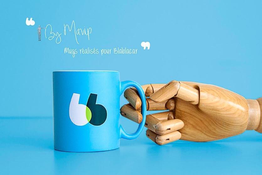 Mug avec couleur pantone bleu personnalisé avec logo blablacar by Mavip