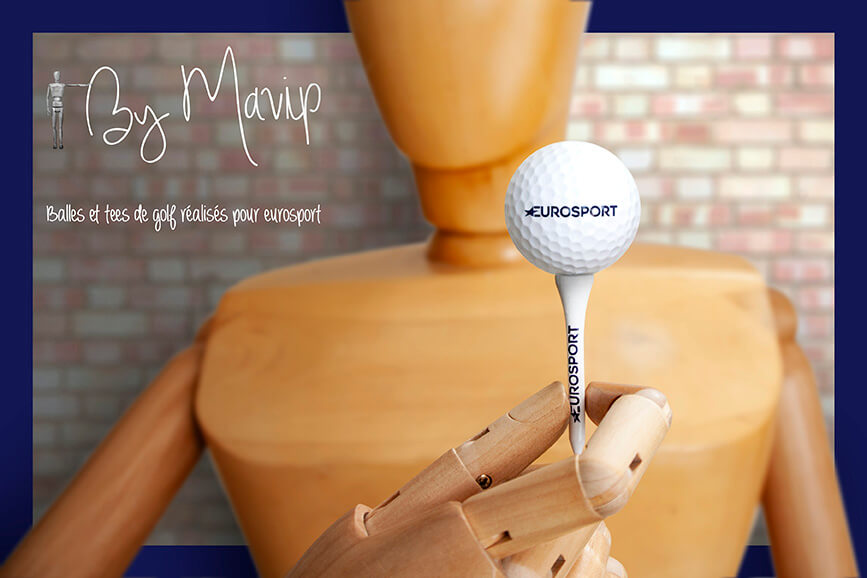 Balles de golf personnalisaées avec logo Eurosport by mavip
