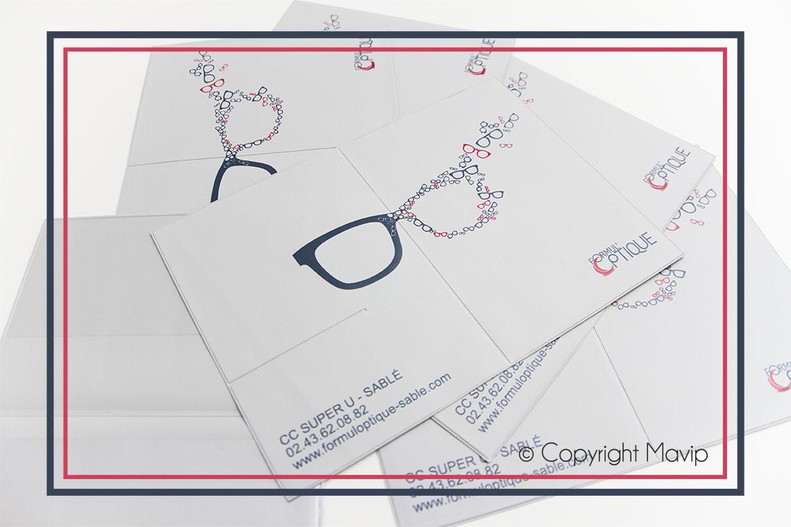 Pochette à ordonnance médicale personnalisable sur mesure avec logo réalisée pour Formul'Optique par Mavip