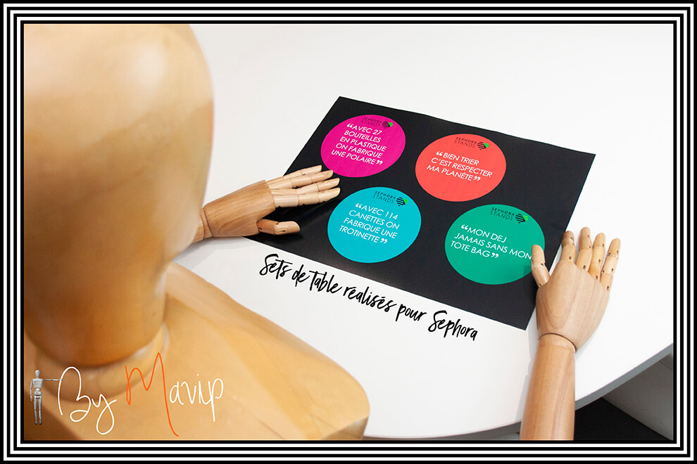 Sets de table réalisés pour Sephora par Mavip