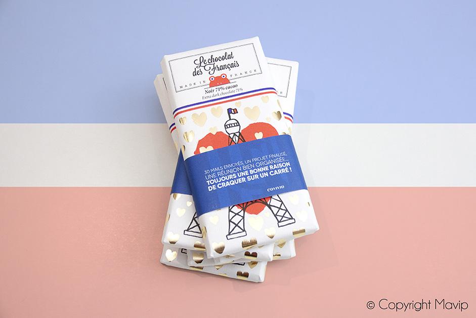 Tablette de chocolat des français personnalisable avec logo d'entreprise by Mavip