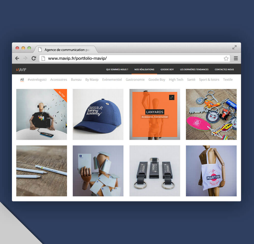 Portfolio du nouveau site internet de Mavip