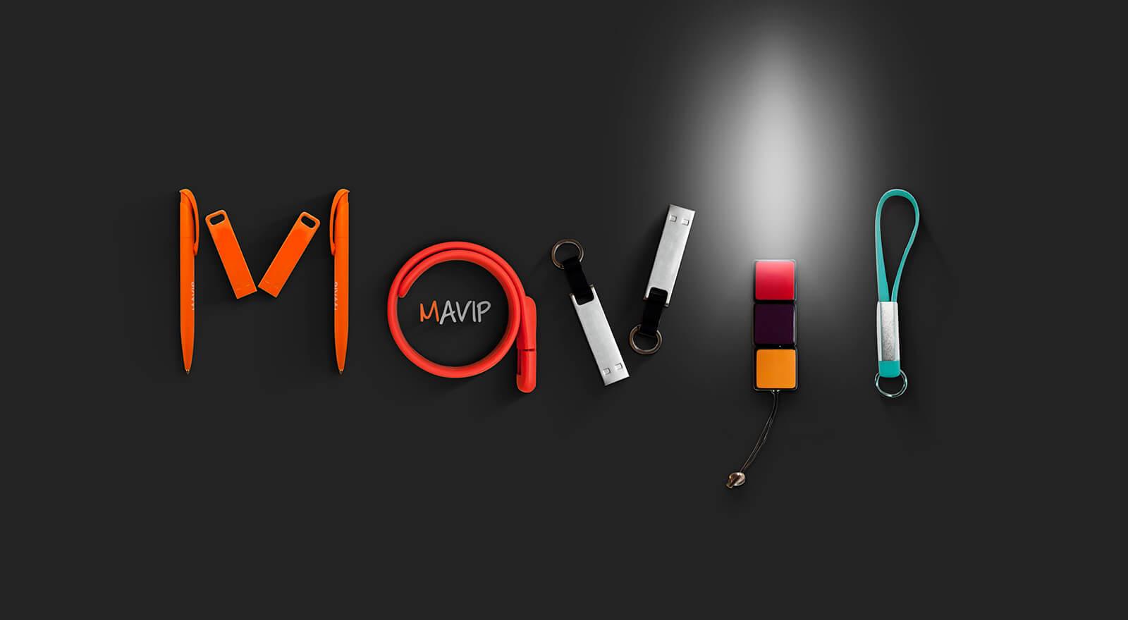 logo Mavip écrit avec des objets publicitaires goodies