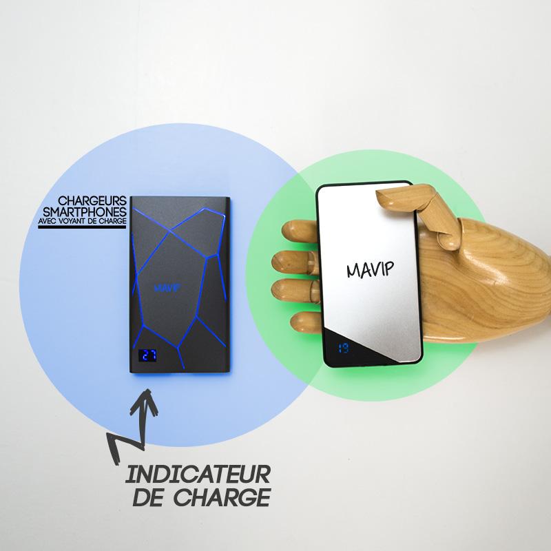 Chargeur smartphone avec logo et indicateur de charge
