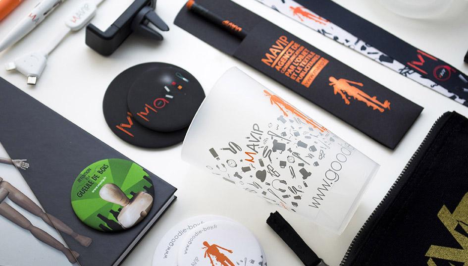 Collection de goodies personnalisés Mavip avec Goodie Boy