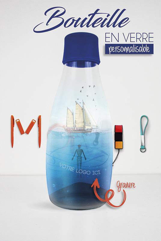 Bouteille en verre personnalisable avec gravure logo