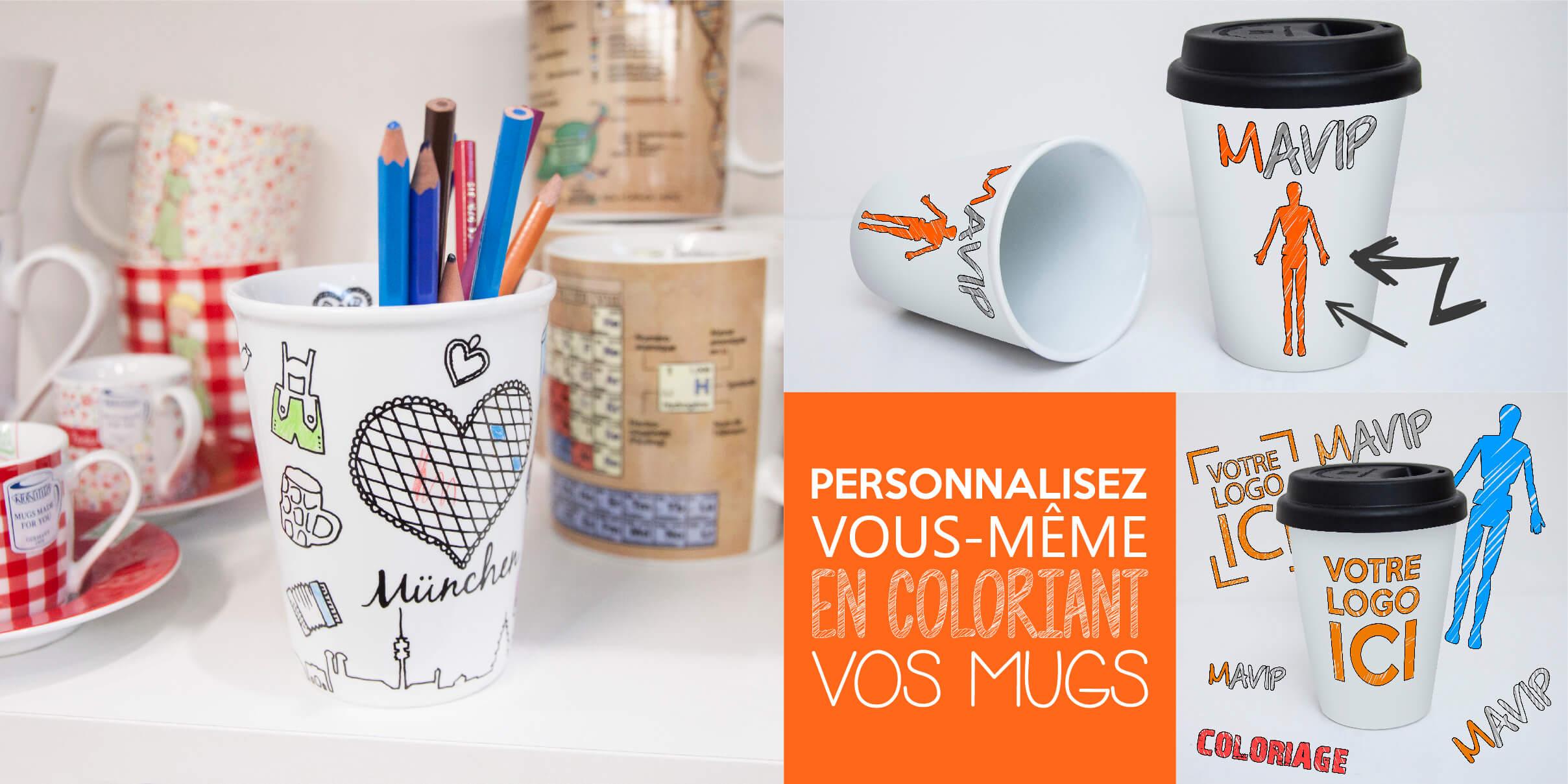Personnalisez vous même avec les mugs à colorier votre logo