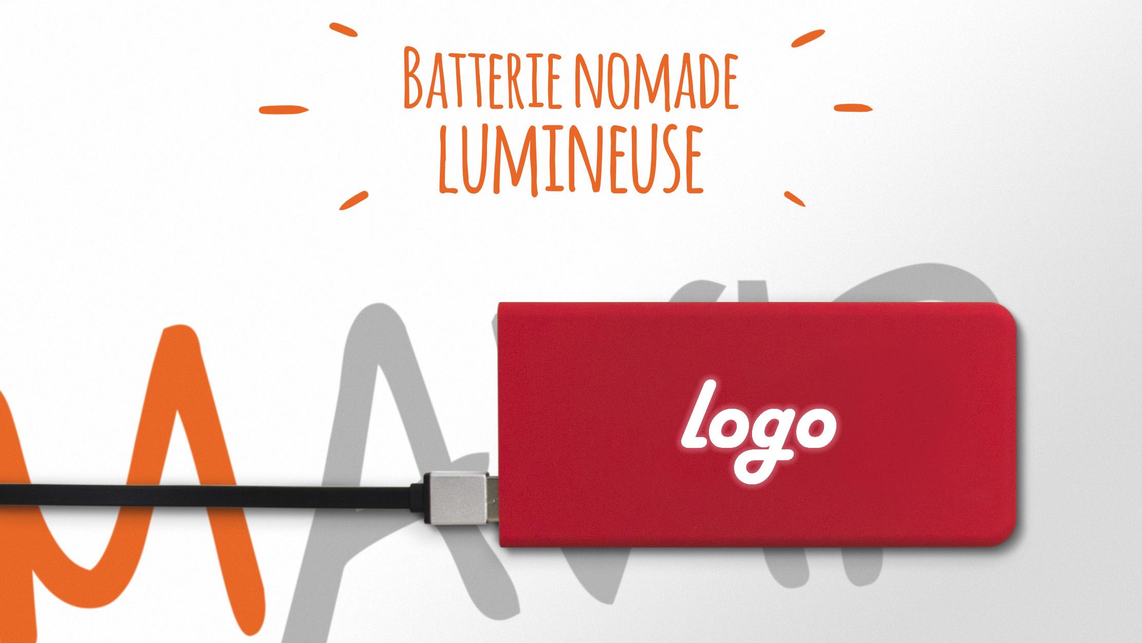 Batterie nomade pour smartphone avec logo lumineux